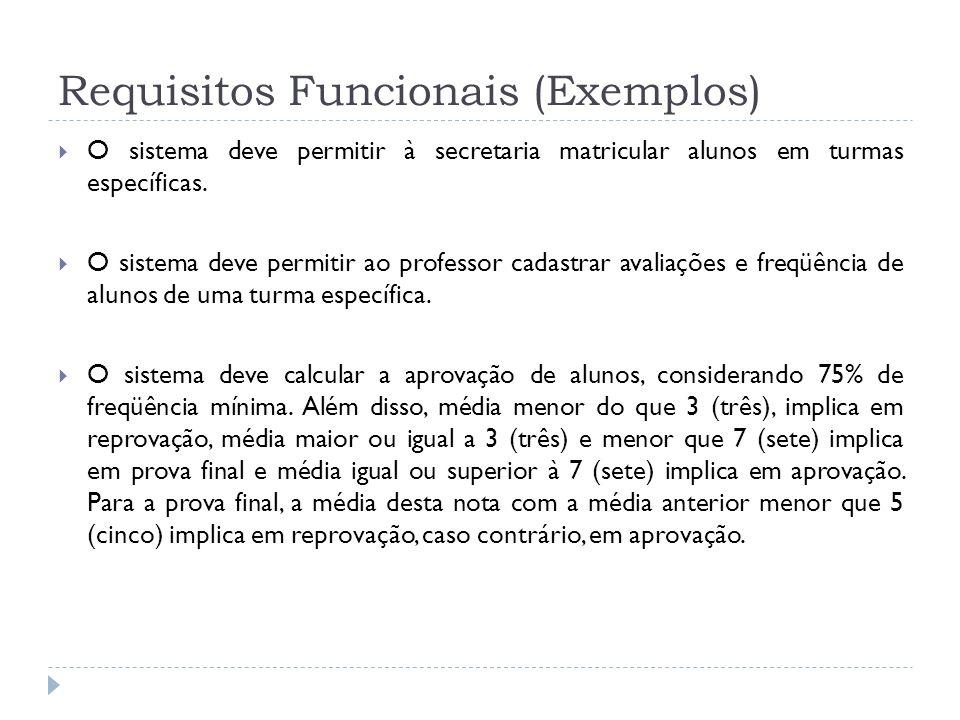 Requisitos Funcionais (Exemplos) O sistema deve permitir à secretaria matricular alunos em turmas específicas. O sistema deve permitir ao professor ca