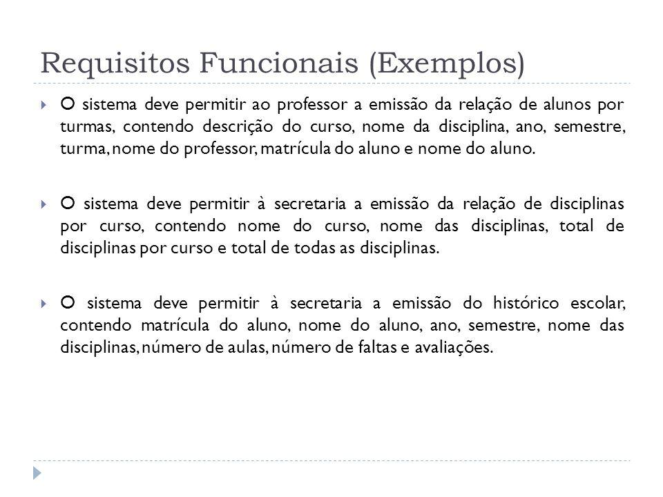 Requisitos Funcionais (Exemplos) O sistema deve permitir ao professor a emissão da relação de alunos por turmas, contendo descrição do curso, nome da