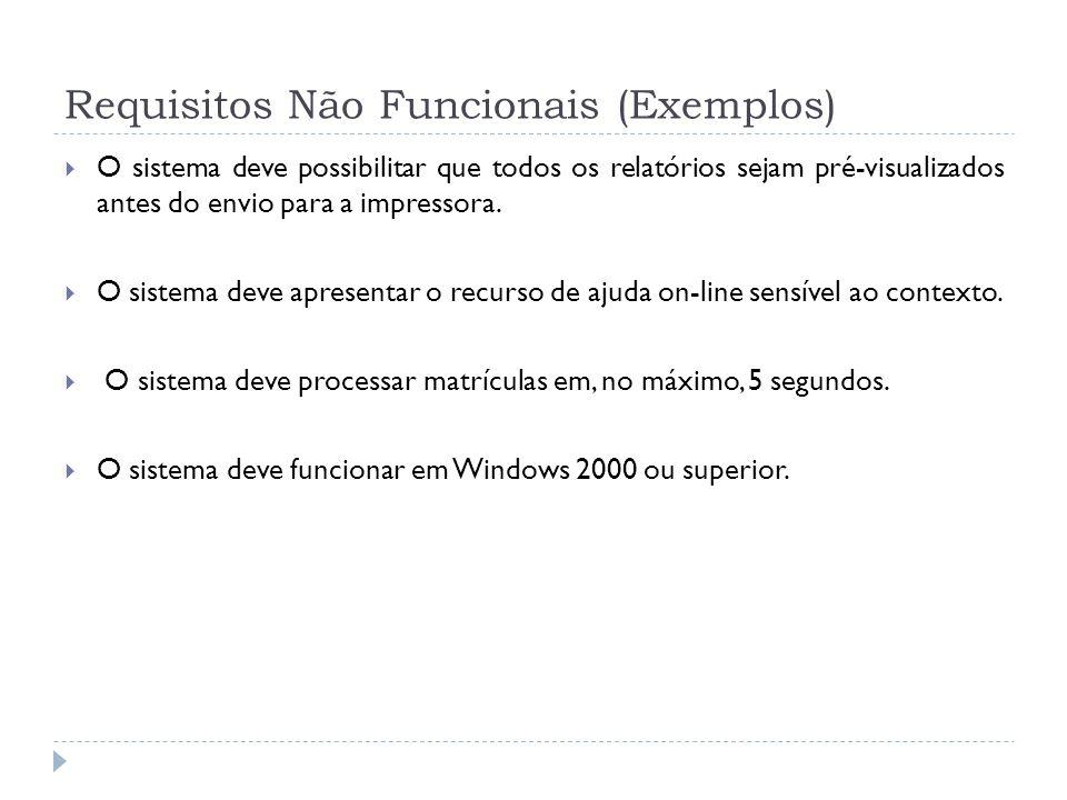 Requisitos Não Funcionais (Exemplos) O sistema deve possibilitar que todos os relatórios sejam pré-visualizados antes do envio para a impressora. O si