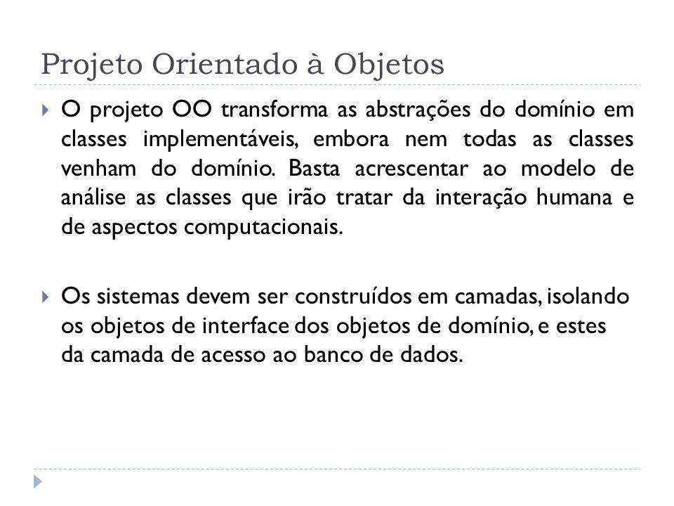 Projeto Orientado à Objetos O projeto OO transforma as abstrações do domínio em classes implementáveis, embora nem todas as classes venham do domínio.