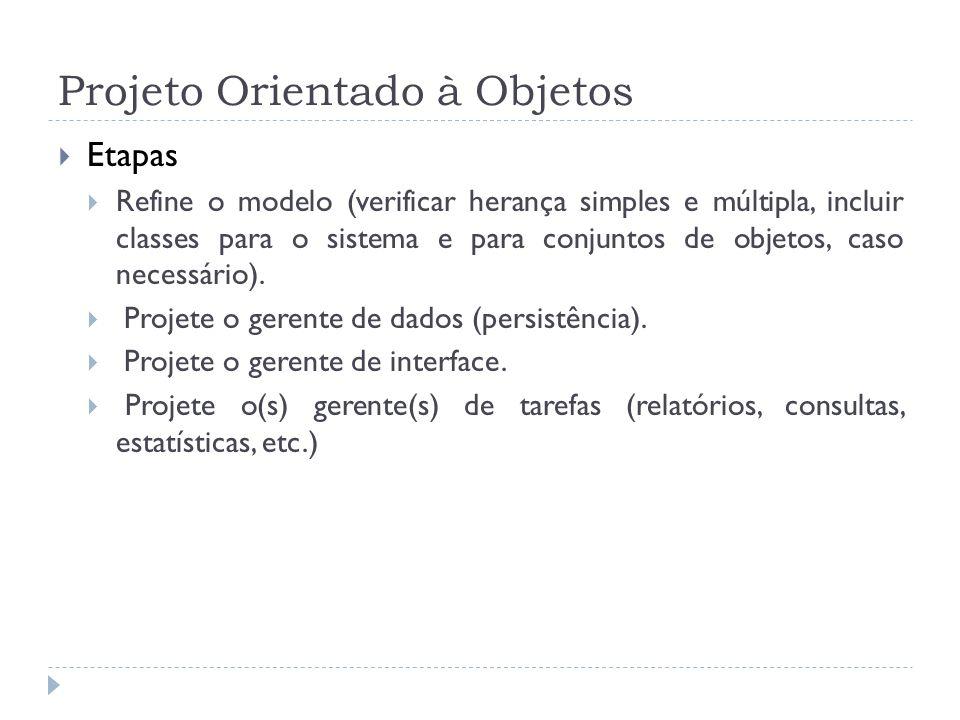 Projeto Orientado à Objetos Etapas Refine o modelo (verificar herança simples e múltipla, incluir classes para o sistema e para conjuntos de objetos,