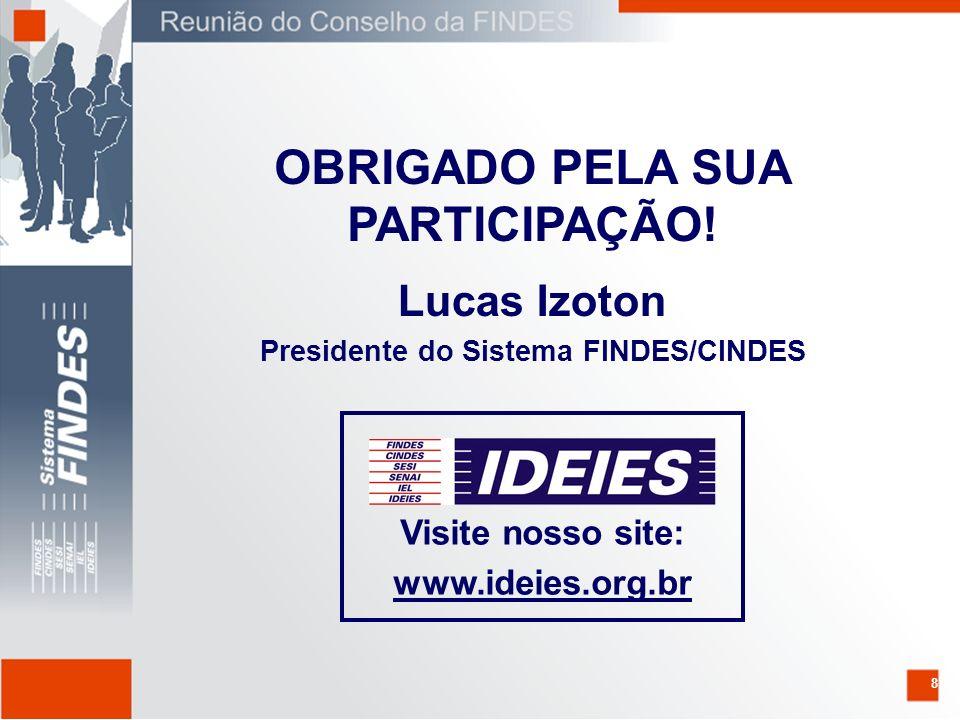 8 Lucas Izoton Presidente do Sistema FINDES/CINDES OBRIGADO PELA SUA PARTICIPAÇÃO.