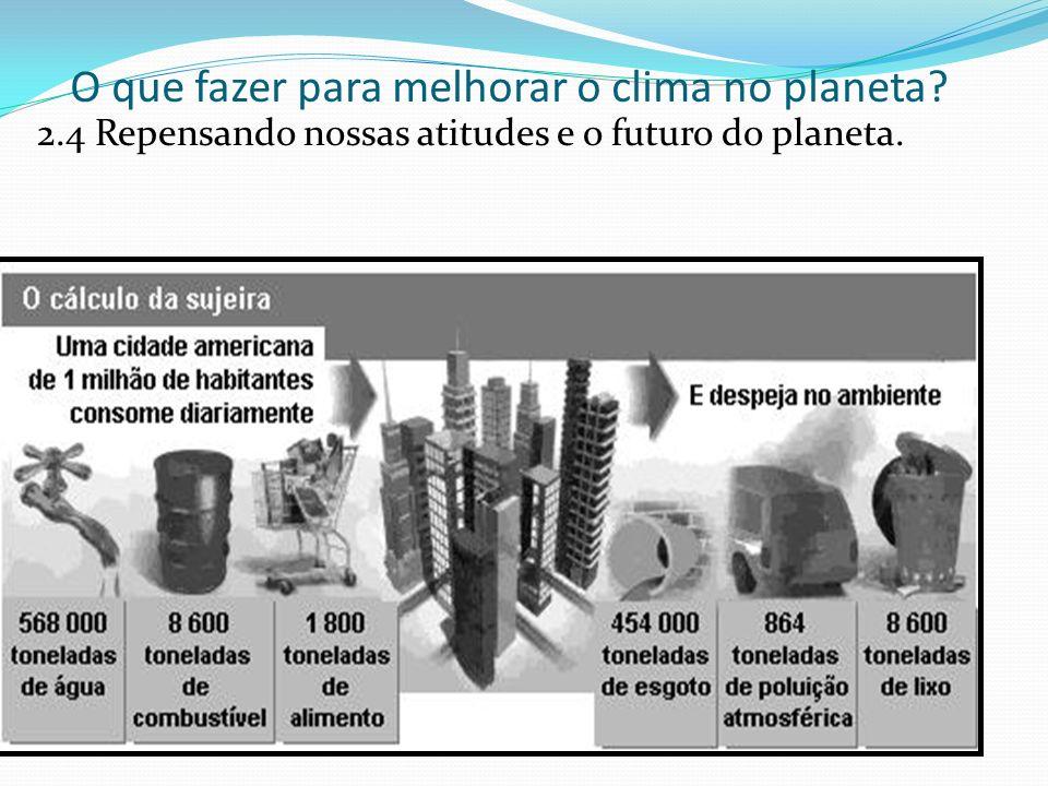 O que fazer para melhorar o clima no planeta? 2.4 Repensando nossas atitudes e o futuro do planeta.