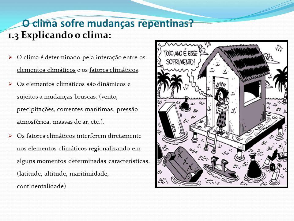 O clima sofre mudanças repentinas? 1.3 Explicando o clima: O clima é determinado pela interação entre os elementos climáticos e os fatores climáticos.