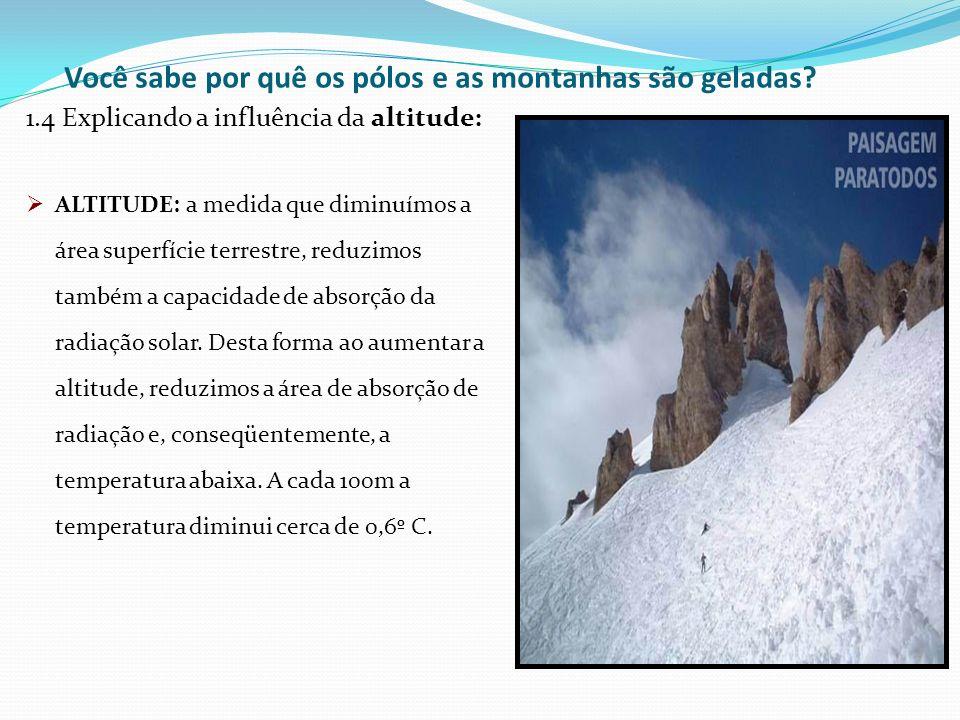 Você sabe por quê os pólos e as montanhas são geladas? 1.4 Explicando a influência da altitude: ALTITUDE: a medida que diminuímos a área superfície te