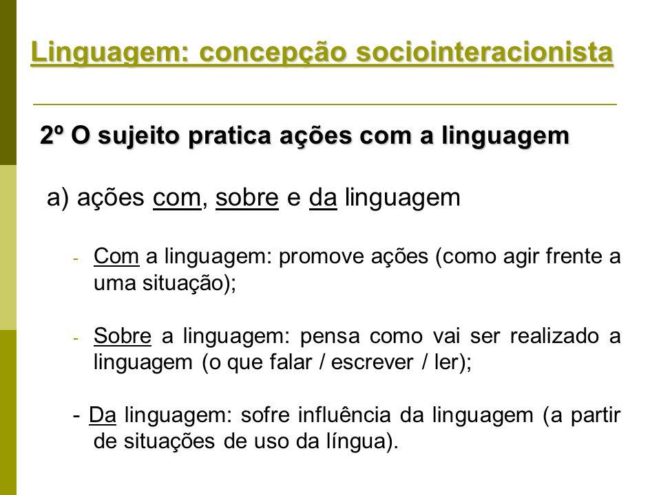 Linguagem: concepção sociointeracionista 2º O sujeito pratica ações com a linguagem a) ações com, sobre e da linguagem - Com a linguagem: promove açõe