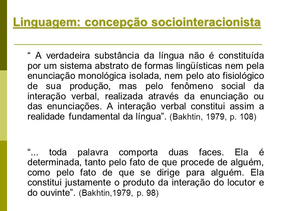 Linguagem: concepção sociointeracionista A verdadeira substância da língua não é constituída por um sistema abstrato de formas lingüísticas nem pela e