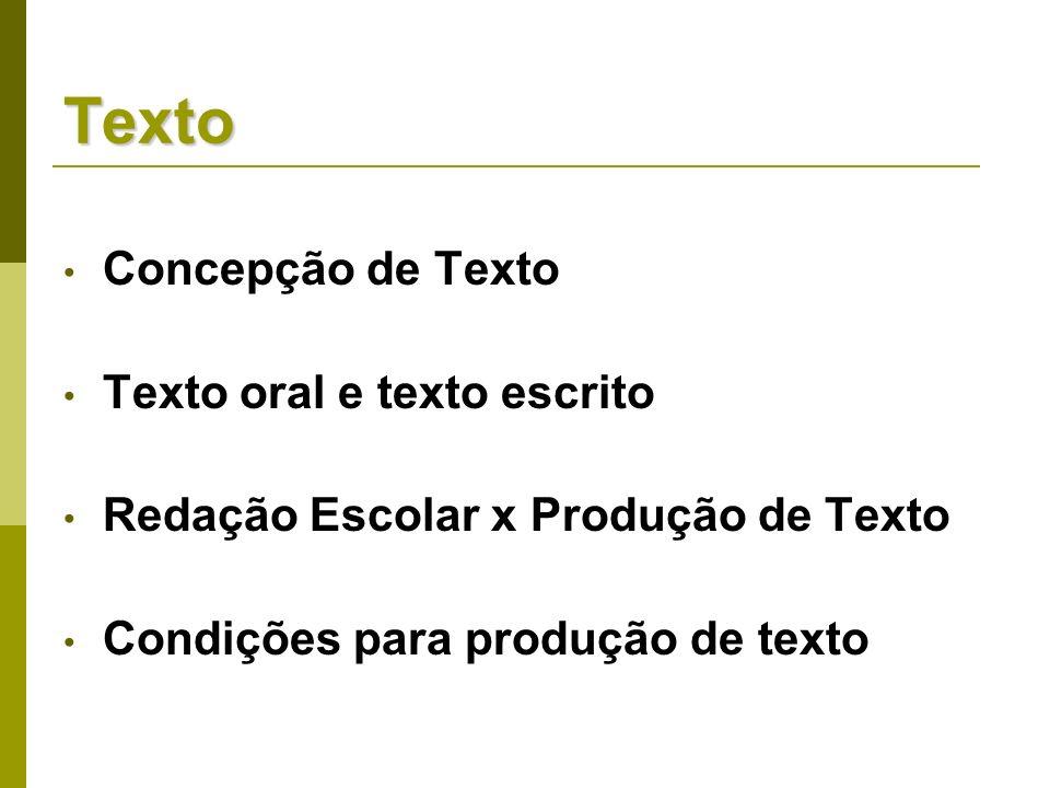 Texto Concepção de Texto Texto oral e texto escrito Redação Escolar x Produção de Texto Condições para produção de texto