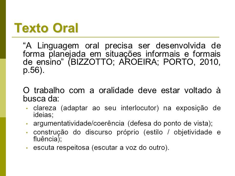 Texto Oral A Linguagem oral precisa ser desenvolvida de forma planejada em situações informais e formais de ensino (BIZZOTTO; AROEIRA; PORTO, 2010, p.