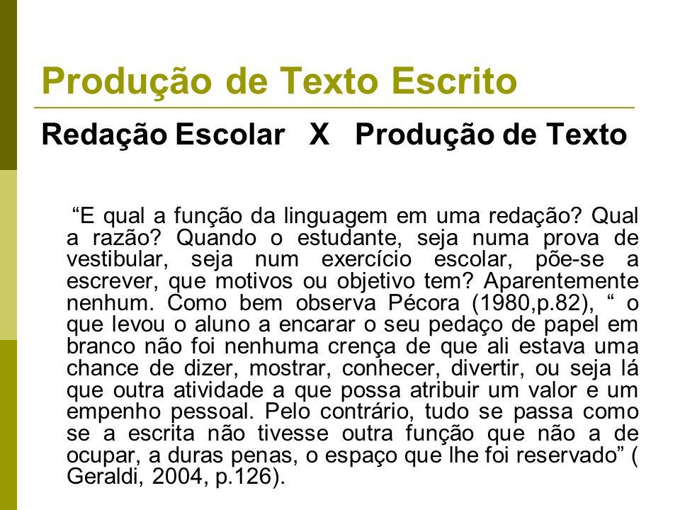 Produção de Texto Escrito Redação Escolar X Produção de Texto E qual a função da linguagem em uma redação? Qual a razão? Quando o estudante, seja numa