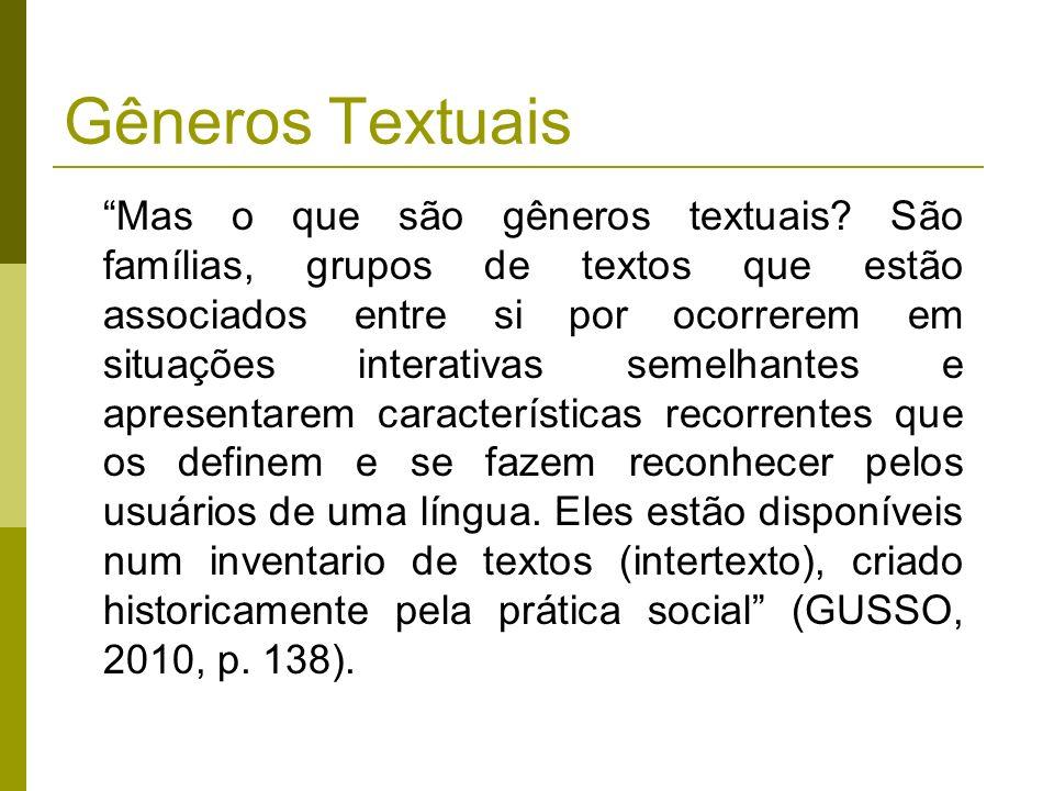 Gêneros Textuais Mas o que são gêneros textuais? São famílias, grupos de textos que estão associados entre si por ocorrerem em situações interativas s