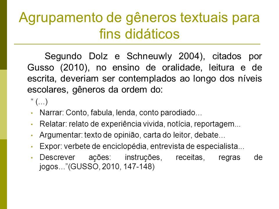 Agrupamento de gêneros textuais para fins didáticos Segundo Dolz e Schneuwly 2004), citados por Gusso (2010), no ensino de oralidade, leitura e de esc