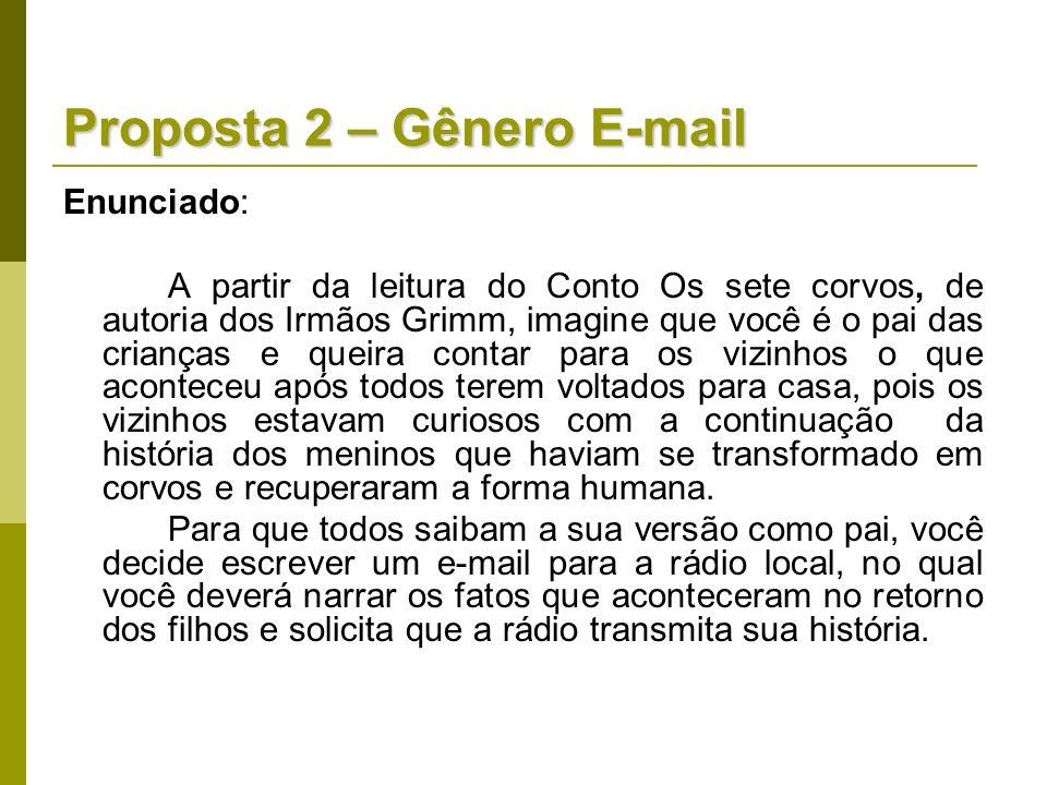 Proposta 2 – Gênero E-mail Enunciado: A partir da leitura do Conto Os sete corvos, de autoria dos Irmãos Grimm, imagine que você é o pai das crianças