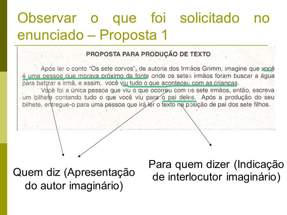 Observar o que foi solicitado no enunciado – Proposta 1 Quem diz (Apresentação do autor imaginário) Para quem dizer (Indicação de interlocutor imaginá
