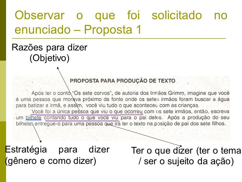 Observar o que foi solicitado no enunciado – Proposta 1 Razões para dizer (Objetivo) Estratégia para dizer (gênero e como dizer) Ter o que dizer (ter