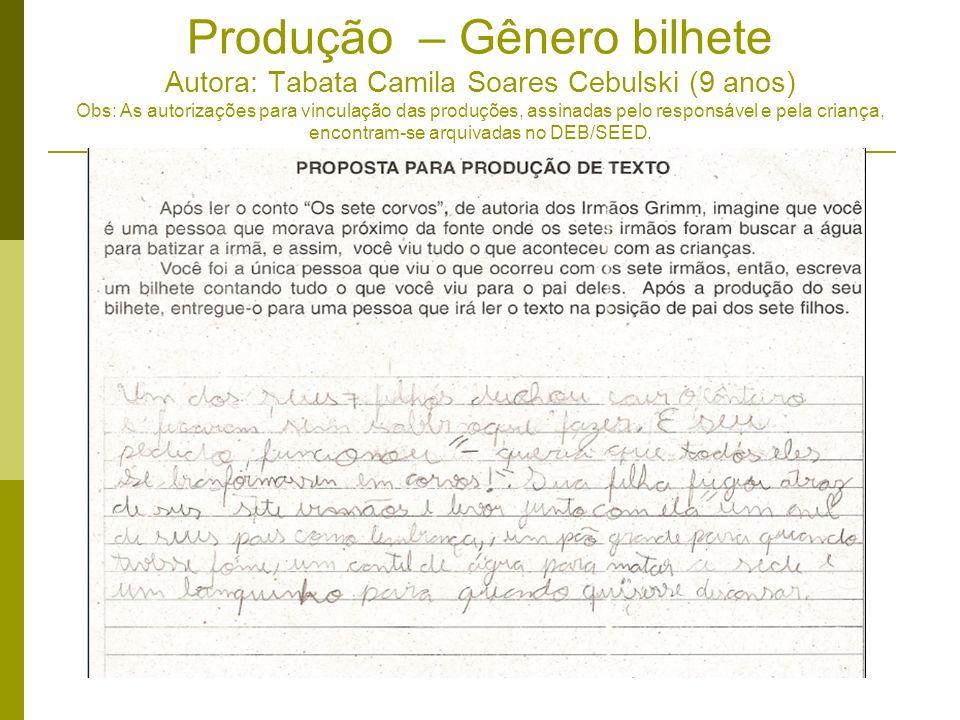 Produção – Gênero bilhete Autora: Tabata Camila Soares Cebulski (9 anos) Obs: As autorizações para vinculação das produções, assinadas pelo responsáve