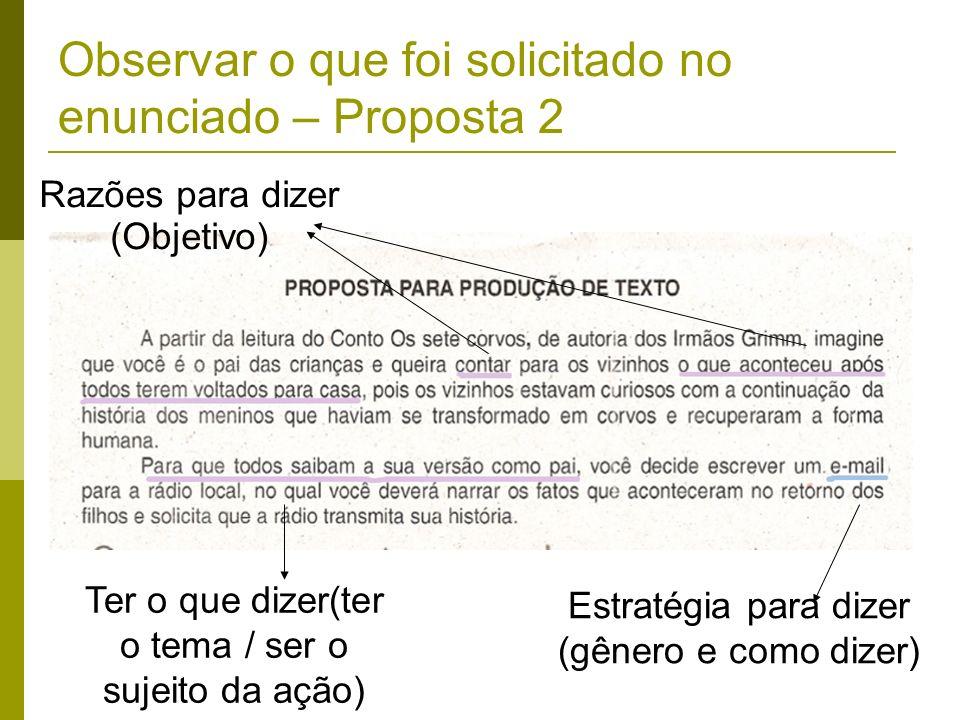 Observar o que foi solicitado no enunciado – Proposta 2 Razões para dizer (Objetivo) Ter o que dizer(ter o tema / ser o sujeito da ação) Estratégia pa