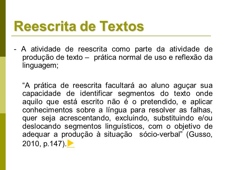 - A atividade de reescrita como parte da atividade de produção de texto – prática normal de uso e reflexão da linguagem; A prática de reescrita facult
