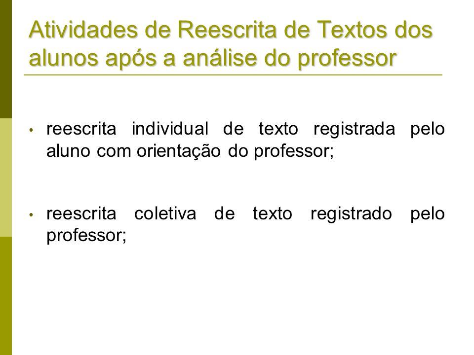 Atividades de Reescrita de Textos dos alunos após a análise do professor reescrita individual de texto registrada pelo aluno com orientação do profess