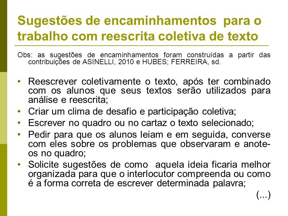 Obs: as sugestões de encaminhamentos foram construídas a partir das contribuições de ASINELLI, 2010 e HUBES; FERREIRA, sd. Reescrever coletivamente o