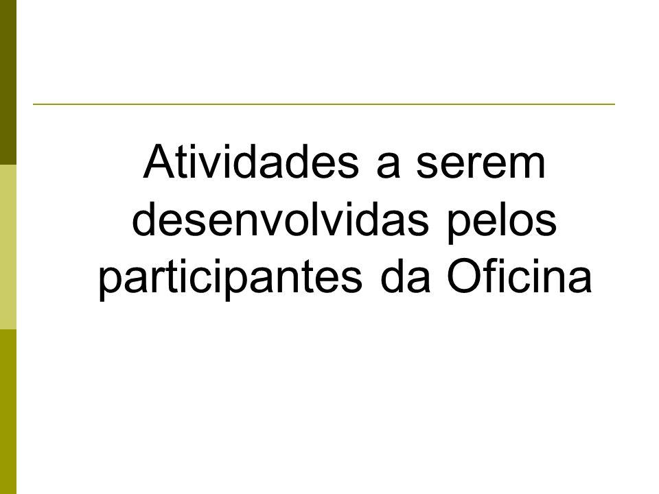 Atividades a serem desenvolvidas pelos participantes da Oficina