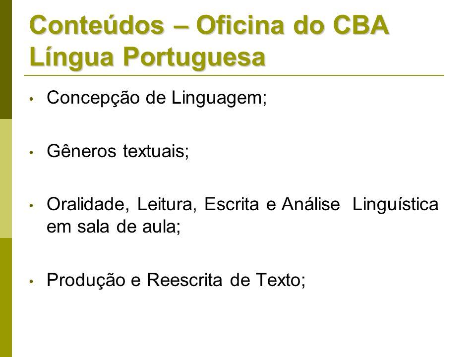 Conteúdos – Oficina do CBA Língua Portuguesa Concepção de Linguagem; Gêneros textuais; Oralidade, Leitura, Escrita e Análise Linguística em sala de au