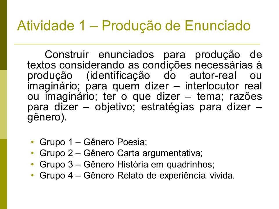 Atividade 1 – Produção de Enunciado Construir enunciados para produção de textos considerando as condições necessárias à produção (identificação do au