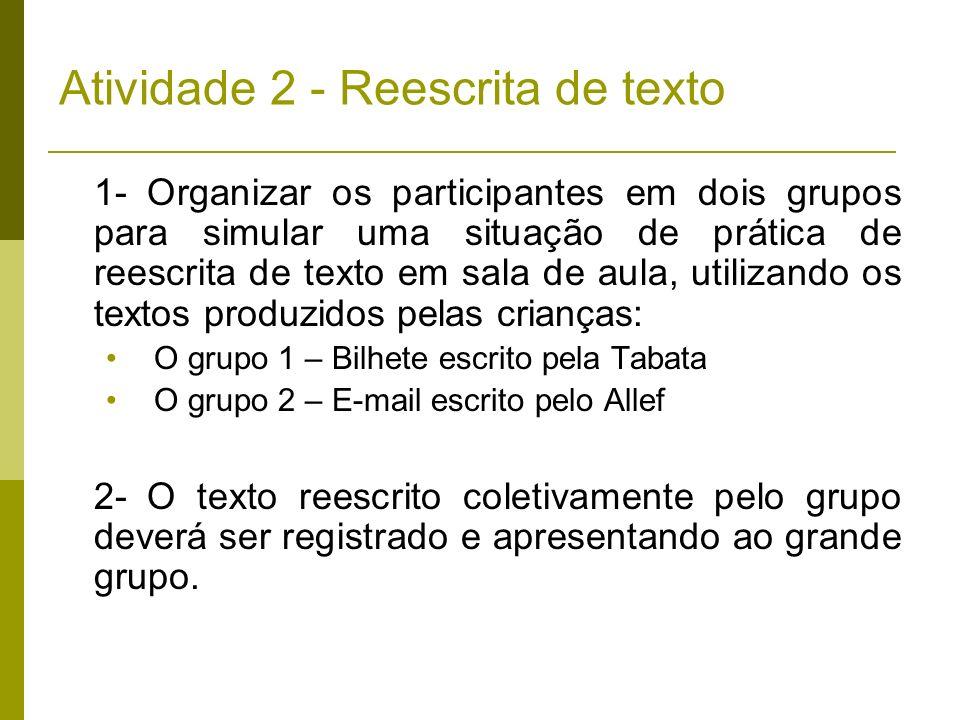 Atividade 2 - Reescrita de texto 1- Organizar os participantes em dois grupos para simular uma situação de prática de reescrita de texto em sala de au