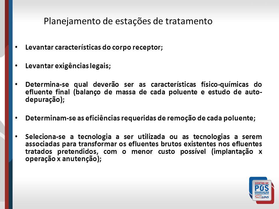 Planejamento de estações de tratamento Levantar características do corpo receptor; Levantar exigências legais; Determina-se qual deverão ser as caract