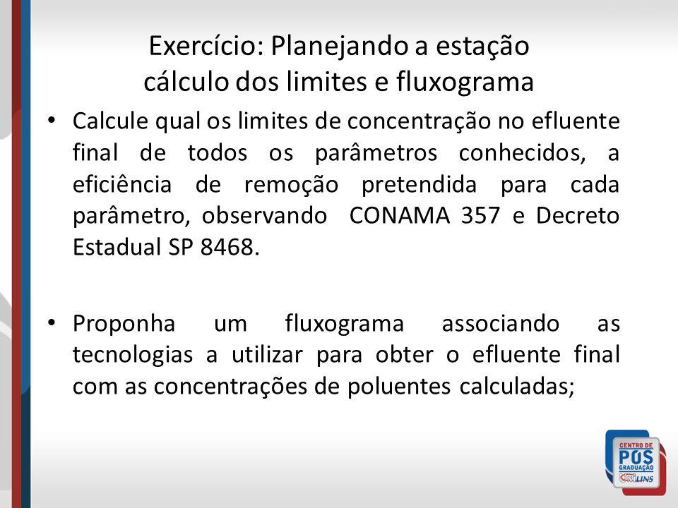 Exercício: Planejando a estação cálculo dos limites e fluxograma Calcule qual os limites de concentração no efluente final de todos os parâmetros conh