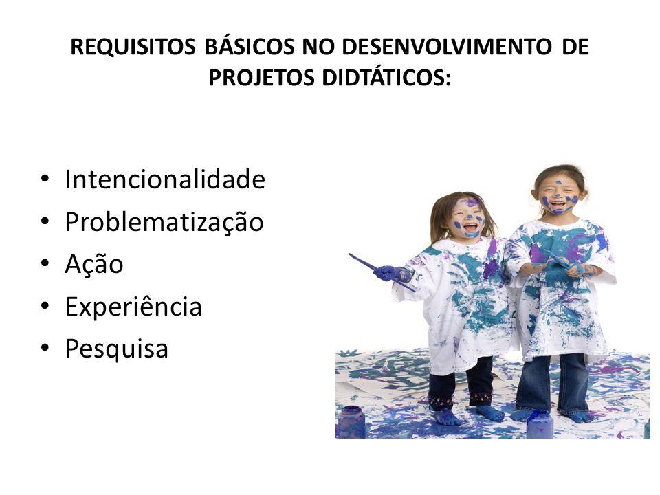 REQUISITOS BÁSICOS NO DESENVOLVIMENTO DE PROJETOS DIDTÁTICOS: Intencionalidade Problematização Ação Experiência Pesquisa