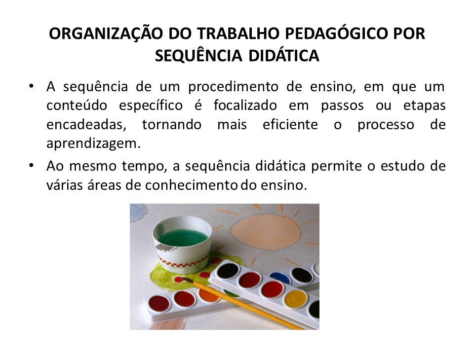 ORGANIZAÇÃO DO TRABALHO PEDAGÓGICO POR SEQUÊNCIA DIDÁTICA A sequência de um procedimento de ensino, em que um conteúdo específico é focalizado em pass