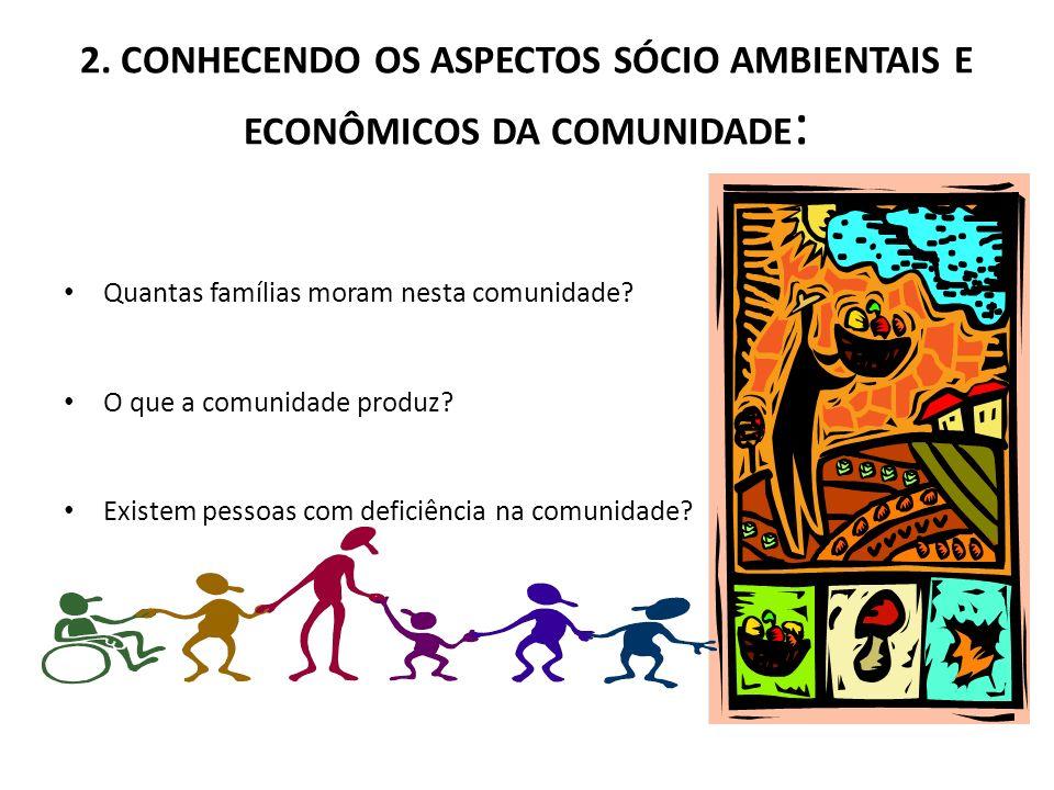2. CONHECENDO OS ASPECTOS SÓCIO AMBIENTAIS E ECONÔMICOS DA COMUNIDADE : Quantas famílias moram nesta comunidade? O que a comunidade produz? Existem pe