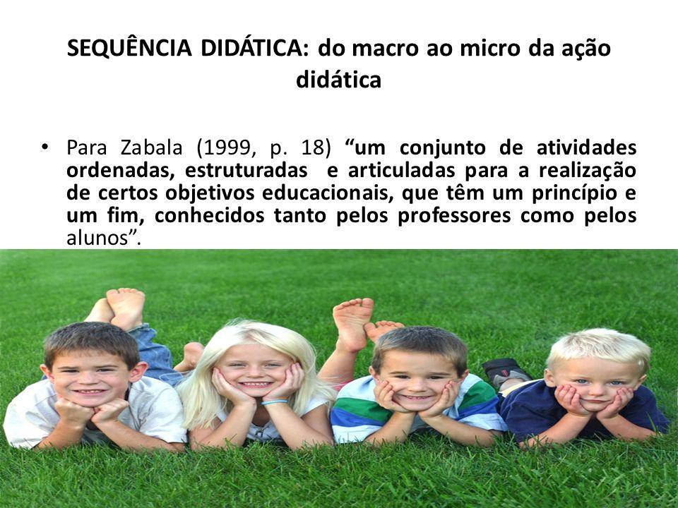 SEQUÊNCIA DIDÁTICA: do macro ao micro da ação didática Para Zabala (1999, p. 18) um conjunto de atividades ordenadas, estruturadas e articuladas para