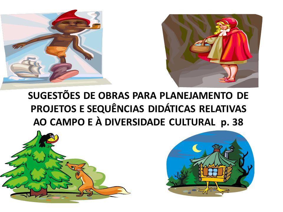SUGESTÕES DE OBRAS PARA PLANEJAMENTO DE PROJETOS E SEQUÊNCIAS DIDÁTICAS RELATIVAS AO CAMPO E À DIVERSIDADE CULTURAL p. 38