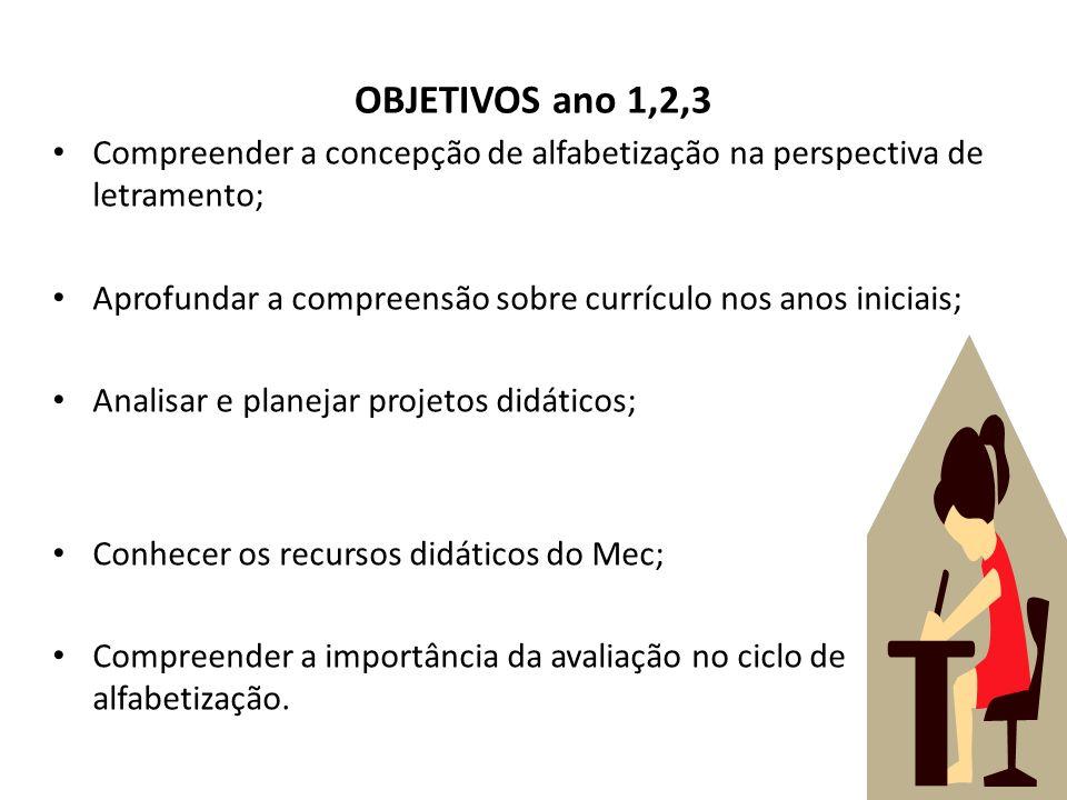 OBJETIVOS ano 1,2,3 Compreender a concepção de alfabetização na perspectiva de letramento; Aprofundar a compreensão sobre currículo nos anos iniciais;