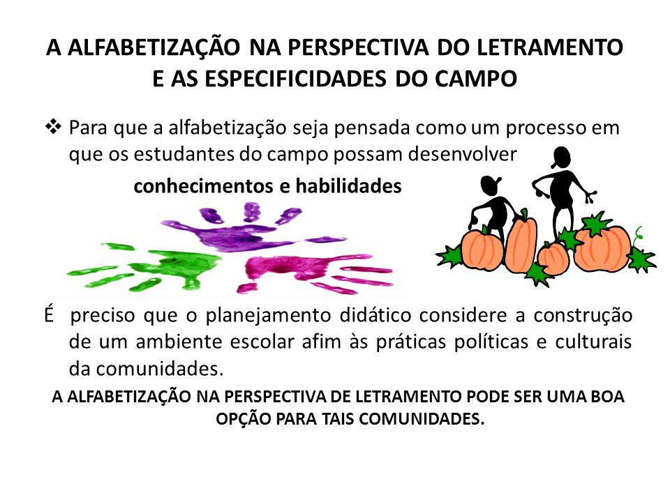 A ALFABETIZAÇÃO NA PERSPECTIVA DO LETRAMENTO E AS ESPECIFICIDADES DO CAMPO Para que a alfabetização seja pensada como um processo em que os estudantes