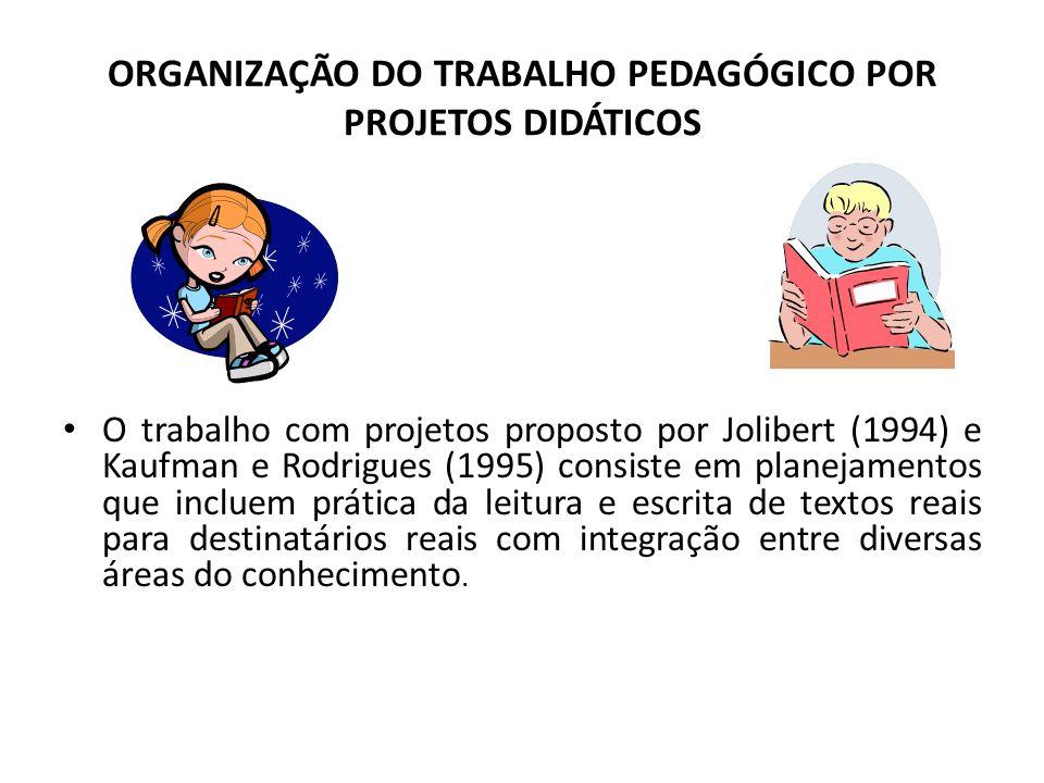 ORGANIZAÇÃO DO TRABALHO PEDAGÓGICO POR PROJETOS DIDÁTICOS O trabalho com projetos proposto por Jolibert (1994) e Kaufman e Rodrigues (1995) consiste e