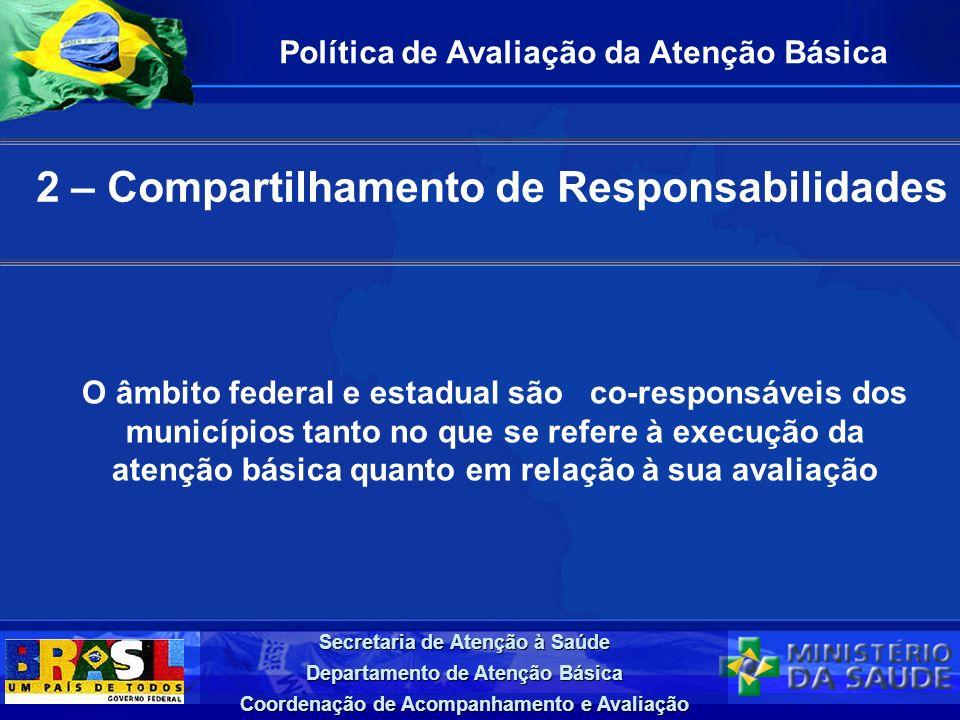 Secretaria de Atenção à Saúde Departamento de Atenção Básica Coordenação de Acompanhamento e Avaliação 2 – Compartilhamento de Responsabilidades Polít