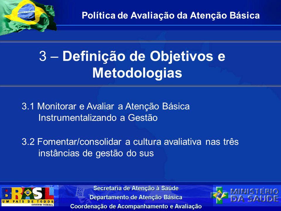 Secretaria de Atenção à Saúde Departamento de Atenção Básica Coordenação de Acompanhamento e Avaliação 3 – Definição de Objetivos e Metodologias Polít