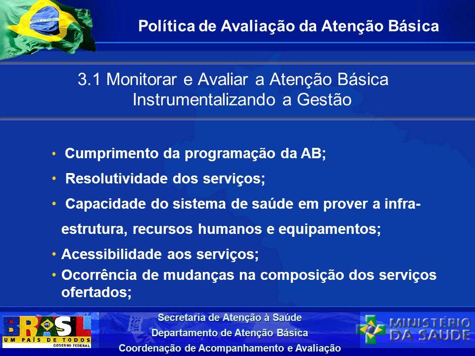 Secretaria de Atenção à Saúde Departamento de Atenção Básica Coordenação de Acompanhamento e Avaliação 3.1 Monitorar e Avaliar a Atenção Básica Instru