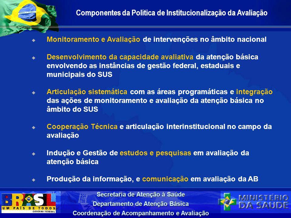 Secretaria de Atenção à Saúde Departamento de Atenção Básica Coordenação de Acompanhamento e Avaliação Monitoramento e Avaliação de intervenções no âm