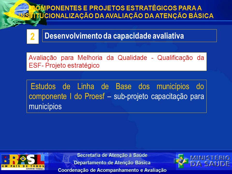 Secretaria de Atenção à Saúde Departamento de Atenção Básica Coordenação de Acompanhamento e Avaliação Desenvolvimento da capacidade avaliativa 2 COMP