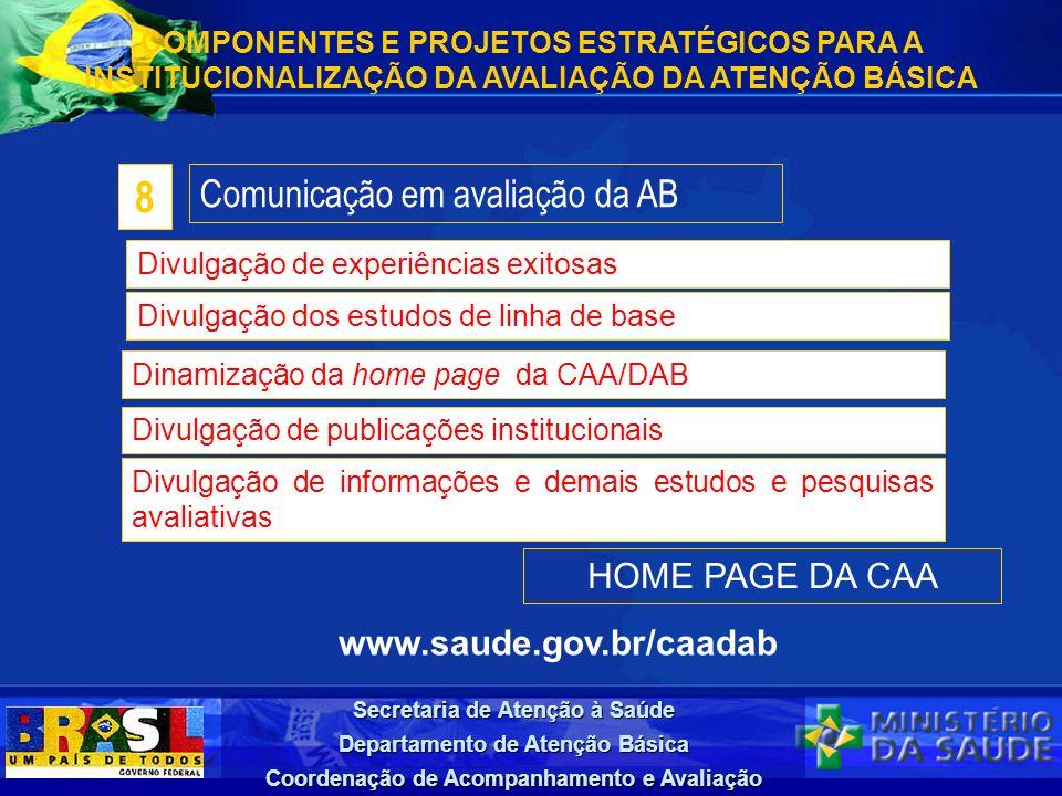 Secretaria de Atenção à Saúde Departamento de Atenção Básica Coordenação de Acompanhamento e Avaliação HOME PAGE DA CAA www.saude.gov.br/caadab COMPON