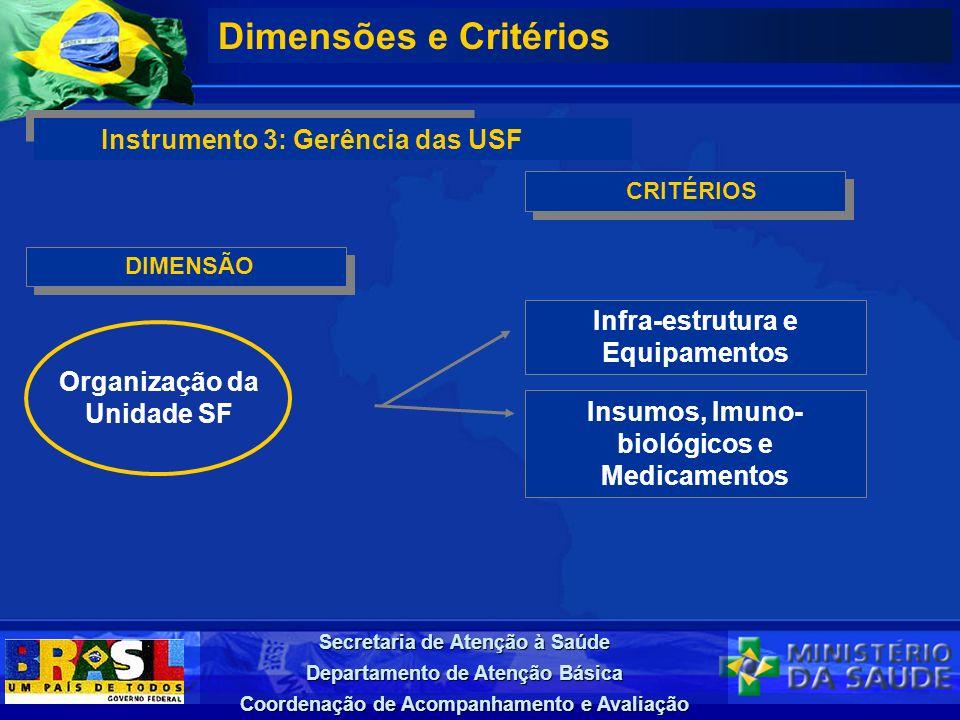 Secretaria de Atenção à Saúde Departamento de Atenção Básica Coordenação de Acompanhamento e Avaliação DIMENSÃO Dimensões e Critérios Instrumento 3: G