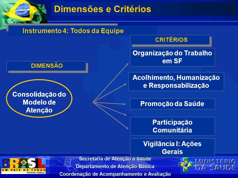 Secretaria de Atenção à Saúde Departamento de Atenção Básica Coordenação de Acompanhamento e Avaliação DIMENSÃO Dimensões e Critérios Instrumento 4: T