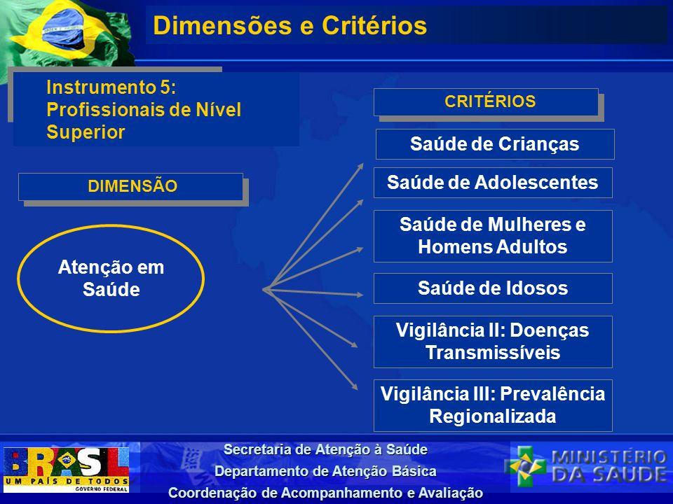 Secretaria de Atenção à Saúde Departamento de Atenção Básica Coordenação de Acompanhamento e Avaliação DIMENSÃO Dimensões e Critérios Instrumento 5: P