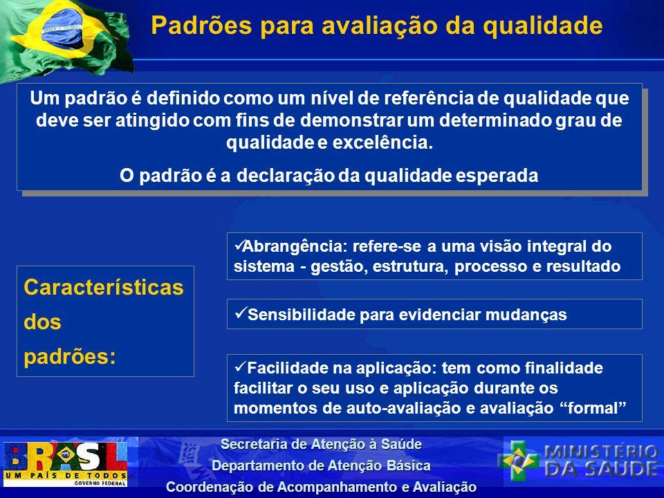 Secretaria de Atenção à Saúde Departamento de Atenção Básica Coordenação de Acompanhamento e Avaliação Padrões para avaliação da qualidade Um padrão é