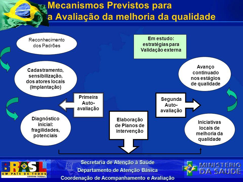 Secretaria de Atenção à Saúde Departamento de Atenção Básica Coordenação de Acompanhamento e Avaliação Mecanismos Previstos para a Avaliação da melhor