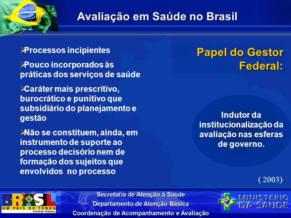 Secretaria de Atenção à Saúde Departamento de Atenção Básica Coordenação de Acompanhamento e Avaliação Avaliação em Saúde no Brasil Processos incipien